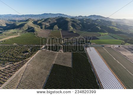 Aerial view of coastal farm fields in Santa Rosa Valley near Camarillo California.