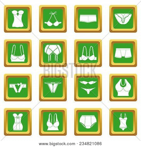 Underwear Icons Set Vector Green Square Isolated On White Background