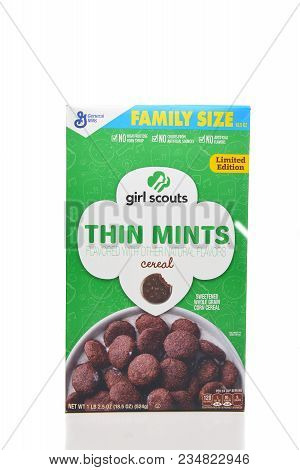 Irvine, California - April 5, 2018: A Box Of Limited Edition Girl Scouts Thin Mints Cereal Made By G