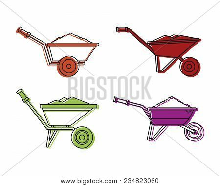 One Wheel Barrow Icon Set. Color Outline Set Of One Wheel Barrow Vector Icons For Web Design Isolate