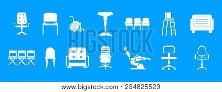 Chair Icon Set. Simple Set Of Chair Vector Icons For Web Design Isolated On Blue Background