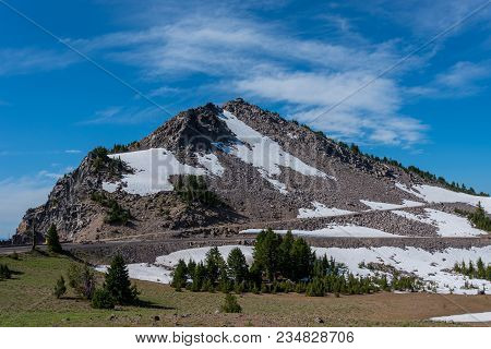 Snow Lingers On The Trail To Watchman Overlook In Crater Lake