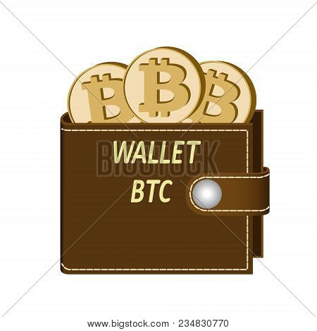 Bitcoin Wallet With Coins On A White Background , Crypto Currency In The Wallet ,bitcoin Coins In Th
