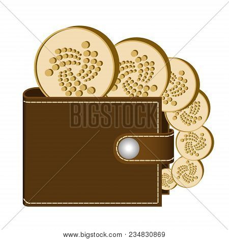Iota Wallet With Coins On A White Background , Crypto Currency In The Wallet ,iota Coins In The Wall