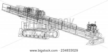 Horizontal Directional Drilling Machine Outlined Vector Rendering Of 3d. The Layers Of Visible And I