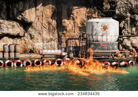 Hazardous Chemicals Leakage Was Burning Down In The Sea.
