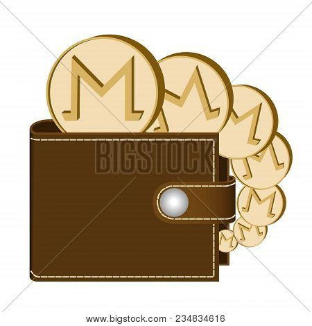 Monero Wallet With Coins On A White Background , Crypto Currency In The Wallet ,monero Coins In The