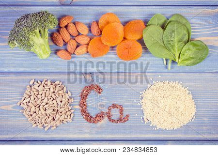 Vintage Photo, Healthy Food As Source Calcium And Dietary Fiber, Natural Sources Of Minerals, Health