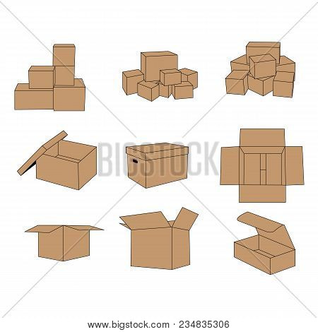 Delivery Cardboard Box Carton Set Vector Isolated On White Background. Cardboard Box For Symbol Or I