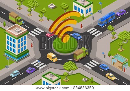 Smart City Transport And Wifi Technology Isometric 3d Vector Illustration Of Urban Traffic Crossroad