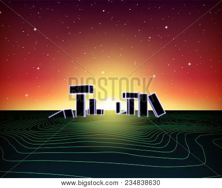Neon Topographic Grid Landscape With 80s Retro Wave Game Style, Ancient Stone Ruins With Neon Lights
