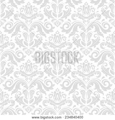 Classic Seamless Vector Pattern. Damask Orient Ornament. Classic Vintage Background. Orient Light Or