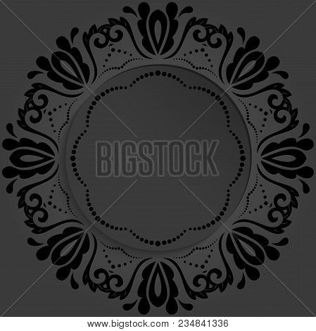 Round Vector Frame With Floral Elements And Arabesques. Dark Pattern With Arabesques