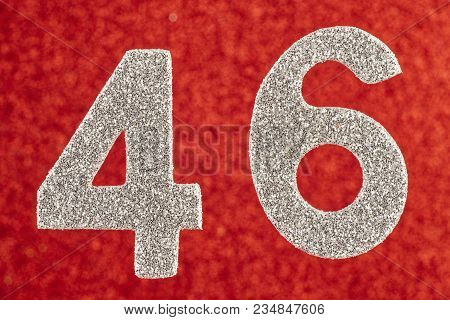 Number Forty-six Silver Color Over A Red Background. Anniversary. Horizontal