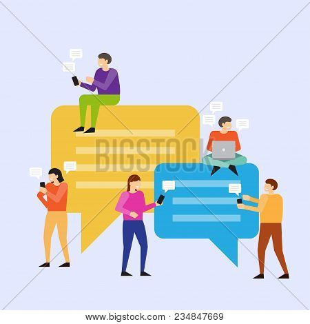 People Using Mobile Smartphone For Posts, Comments And Leaving Comments In Social Networks. People S