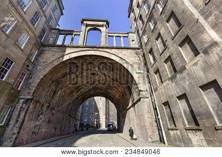 Old Vintage Carlton Street And Viaduct In Edinburgh
