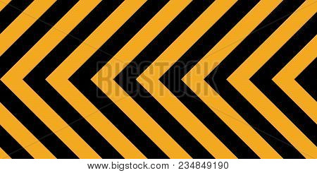 Horizontal Background Yellow Black Stripes, Industrial Sign Safety Stripe Warning, Vector Background