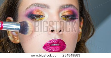 Beautiful Young Woman Applying Cosmetic Powder On Face With Tassel, Skin Care Concept, Photo Composi