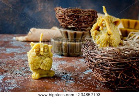 Natural Beeswax Candles In Shape Owls, Handmade Of Craft Candles, Made For Holiday, Art And Health O