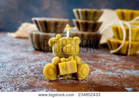 Natural Beeswax Candle In Shape Bear, Handmade Of Craft Candles, Made For Holiday, Art And Health On