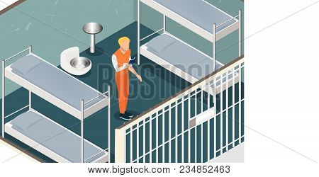 Isometric Model Of Modern Prison. Man In Prison. Vector Jail, Cartoon Flat Design Vector Illustratio