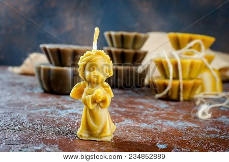 Natural Beeswax Candle In Shape Angel, Handmade Of Craft Candles, Made For Holiday, Art And Health O