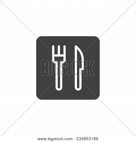 Fork And Knife Vector Icon. Filled Flat Sign For Mobile Concept And Web Design. Simple Restaurant So