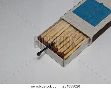 Boxes With Whole Matches And One Burnt Match. The Concept Of The Whole And Used.