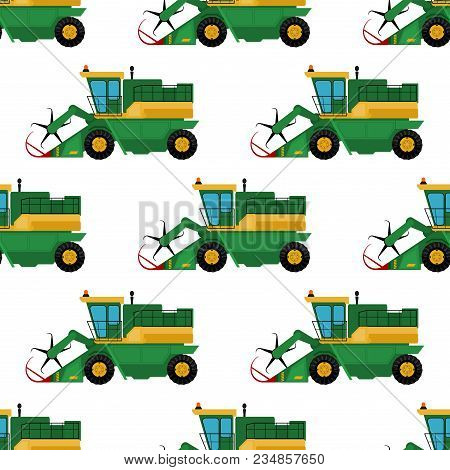 Agriculture Industrial Farm Equipment Seamless Pattern Background Machinery Tractors Combines And Ex