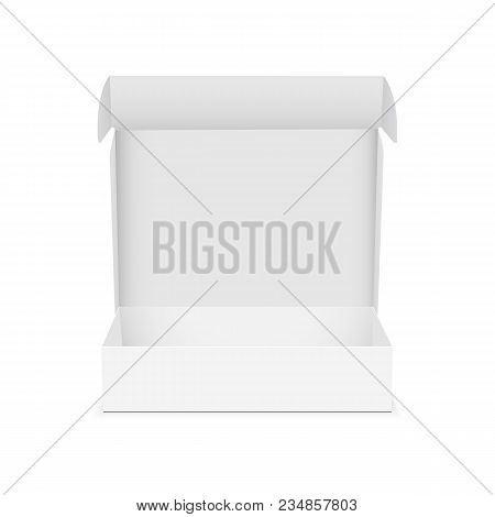 Box With Open Lid Isolated On White Background - Front View. Mockup For Your Design Or Branding. Vec