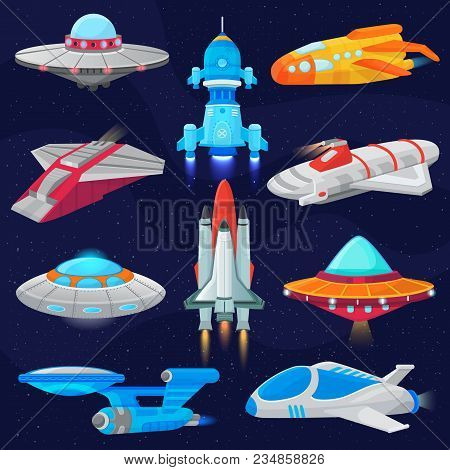Rocket Vector Spaceship Or Spacecraft And Spacy Ufo Illustration Set Of Spaced Ship Or Rocketship In