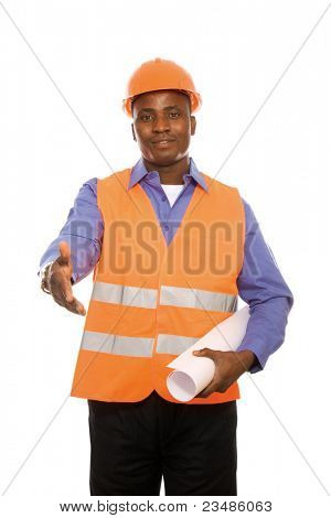 Young Afro-American engineer  with blueprints giving his hand isolated on white