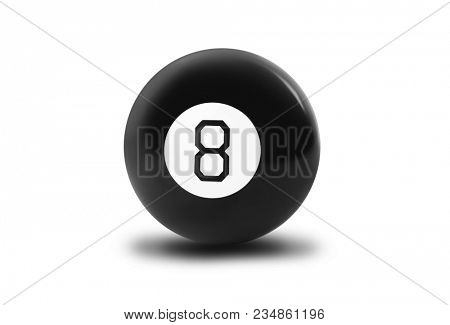 Magic billiard ball number eight isolated on white background