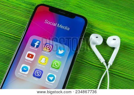Sankt-petersburg, Russia, April 5, 2018: Apple Iphone X With Icons Of Social Media Facebook, Instagr