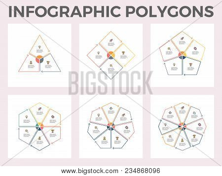 Infographic Polygons. Triangle, Square, Pentagon, Hexagon, Heptagon, Octagon. Vector Templates. Edit