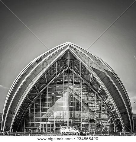 Glasgow, Scotland - January 17, 2018: A Monochromatic View Of The Armadillo Auditorium In Glasgow Ne