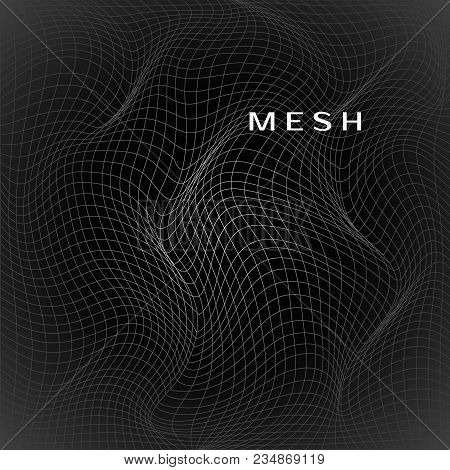 Abstract Deformation Of Net. Wavy Mesh Structure. Vector Illustration Isolated On Dark Background