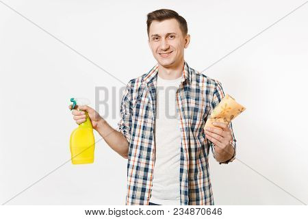 Young Housekeeper Man Holding Cleaning Rag, White Blank Empty Spray Bottle With Cleaner Liquid Isola