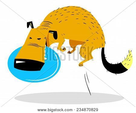 Cute Dog Jumping With Disk. Dog Sport. Cartoon Pet. Pet Catching A Toy-disk In The Air. Vector Illus