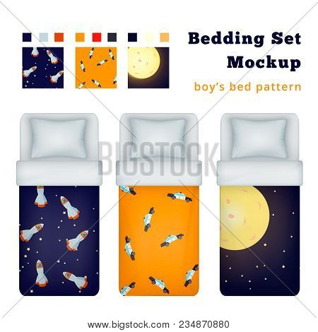 Childish Boy Bedding Set Of Realistic Single Bed Mockup Images And Textile Patterns For Bed Linen Ve