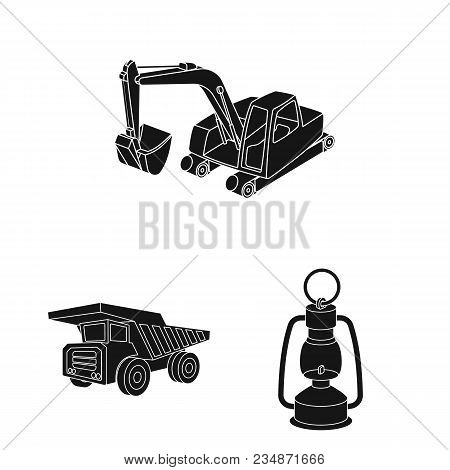 Mining Industry Black Icons In Set Collection For Design. Equipment And Tools Vector Symbol Stock  I
