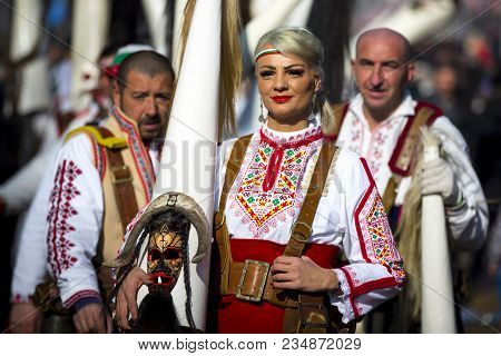 Pernik, Bulgaria - 28 January 2018: Participants Take Part In The International Festival Of Masquera