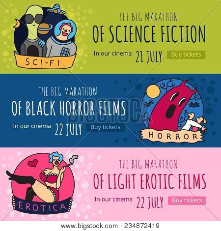 Cinema Genres 3 Funny Colorful Horizontal Banners With Science Fiction Horror And Erotic Movies Isol
