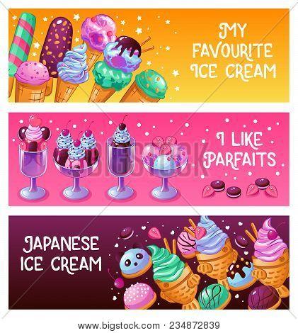 Japanese Ice Cream Parfait Frozen Dessert Waffle Cones With Pistache Balls 3 Horizontal Banners Isol