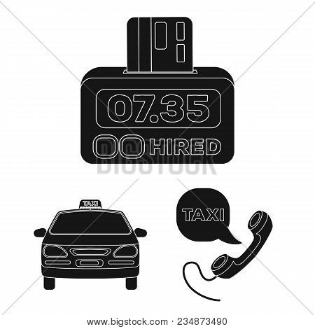 Taxi Service Black Icons In Set Collection For Design. Taxi Driver And Transport Vector Symbol Stock
