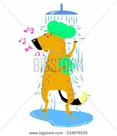 Bathing Dog. Cute Dog Takes A Shower In The Cap With Shower Sponge And Hums The Melody. Vector Carto