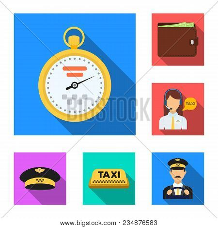 Taxi Service Flat Icons In Set Collection For Design. Taxi Driver And Transport Vector Symbol Stock