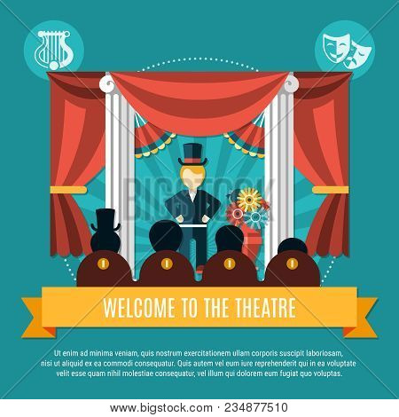 Theatre Colored Concept With Welcome To The Theater Headline On Yellow Big Ribbon Vector Illustratio