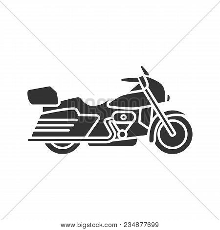 Motorbike Glyph Icon. Motorcycle. Silhouette Symbol. Negative Space. Vector Isolated Illustration