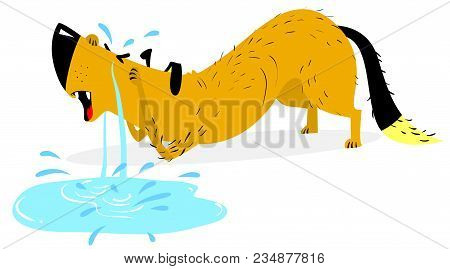 Sad Crying Dog. Pet And Emotion. Tears Of A Dog. Animal Character In Sorrow. Vector Illustration Wit